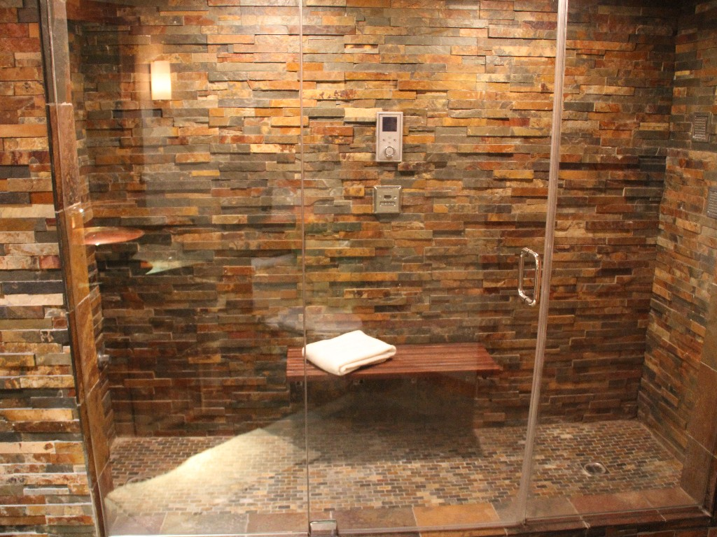 Cool Neutral Stone Tiled Shower Room Bathroom Decorating Ideal Home