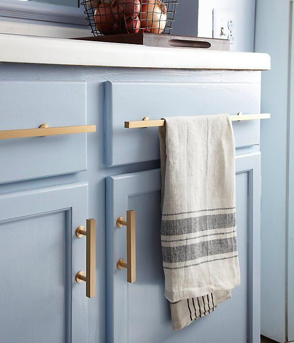 Blue Cabinets with Brass Handles