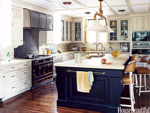 Blue Island, White Cabinets and Brass Accents