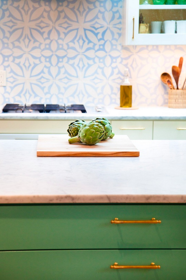 Moroccan Green Cabinets with Brass Handles