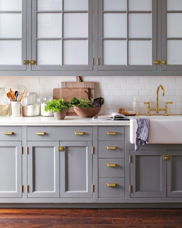 Slate Gray Cabinets with Brass Handles