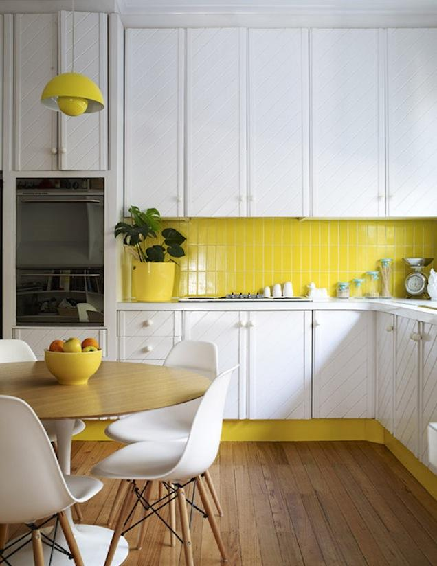 Summer White Kitchen with Yellow Backsplash