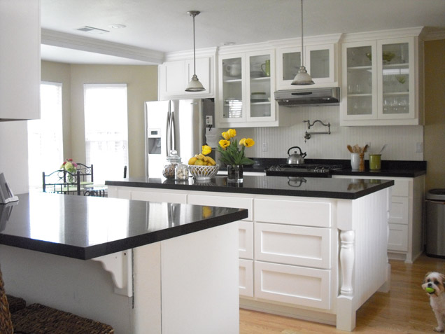 White Kitchen With Glass Front Cabinets